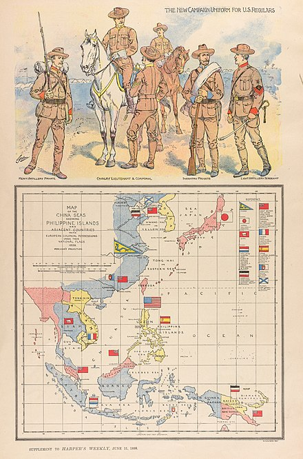 "In this ""patriotic"" map of the China Seas, a large American flag is planted on the spot of the battle of Manila Bay, where on May 1st, Dewey had defeated the Spanish. W. B. Duncan Map of the China Seas 1898 Cornell CUL PJM 1131 01.jpg"