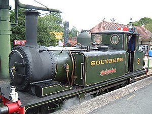 "Freshwater, Yarmouth and Newport Railway - A1 Class 'Terrier' locomotive ""Freshwater"" in Southern Railway livery at the Isle of Wight Steam Railway. This locomotive was originally used on the Freshwater, Yarmouth and Newport Railway."