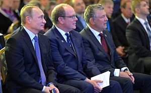 Joël Bouzou - Joël Bouzou (on the right), Vladimir Putin (at the left), Prince Albert II of Monaco (in the centre) at the First World Olympians Forum held in Moscow in 2015