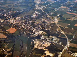Wabash, Indiana - Wabash from the air, looking west.