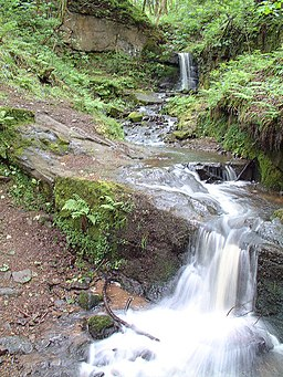 Waterfall at Fairy Glen, Appley Bridge - geograph.org.uk - 173739