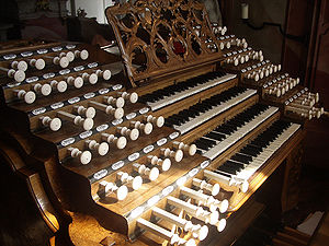 Organ of the Basilica of St. Martin (Weingarten) - The organ console; notice the stop knobs made of ivory