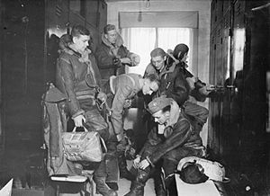 No. 99 Squadron RAF - 99 Squadron Wellington air crew at RAF Waterbeach prepare for a night raid on Berlin.