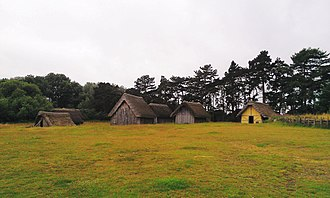 West Stow Anglo-Saxon Village - Panorama of the reconstructed village, on the sloping hill, with the 19th century pines in the background.