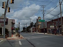 Looking north in downtown Manchester, Maryland
