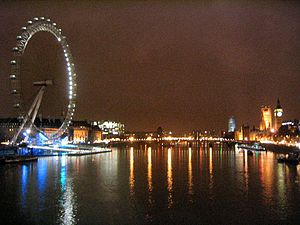 Westminster Bridge - Westminster Bridge and surrounding landmarks at night