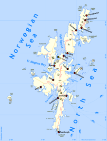 A map of Shetland. The main islands lie on a north south axis, with the Norwegian Sea to the north and west and the North Sea to the south and east.