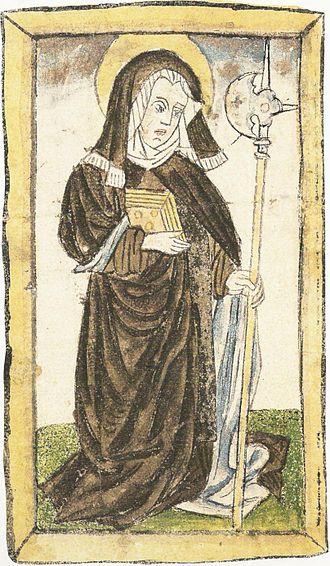 Wiborada - Saint Wiborada from the Cimelia Sangallensia, c. 1430