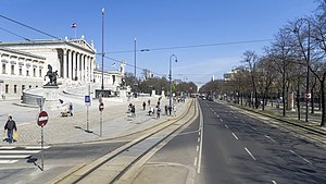 Vienna Ring Road - The Ringstraße with parliament on the left and Volksgarten park to the right
