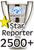 This award is presented to Wikinews reporters upon their 2500th published news article.