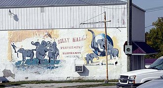 Lancaster, Missouri - Mural in downtown Lancaster featuring the elephants of William P. Hall's circus, based in the town.