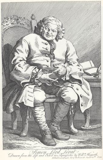 Lovat, sketched by William Hogarth at St Albans, on his way to London for trial and later execution William Hogarth - Simon, Lord Lovat.png