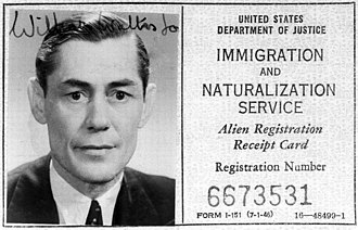 William Sargant - 1947 US ID card of William Sargant
