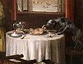 William hogarth, marriage a-la-mode, 1743 ca., 06 la morte della signora 5 cane che ruba testa di maiale.jpg