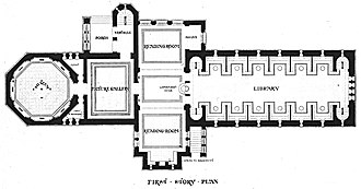 Winn Memorial Library - First floor plan, 1877.