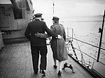 Winston Churchill and his daughter Mary walking arm in arm aboard HMS DUKE OF YORK in the Clyde, shortly before the Prime Minister left for the United States, December 1941 A6900.jpg
