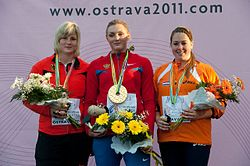 Women shot put podium Ostrava 2011.jpg