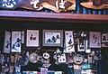Wood carvings mounted in paintings, souvenir stand, Nikkō (1967-05-06 by Roger W).jpg