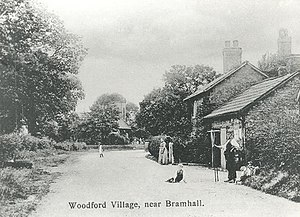 Woodford, Greater Manchester - Chester Road, Woodford in 1904. In the distance is Christ Church