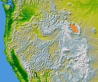 Laramide orogeny - Topographic map of the Bighorn Basin (highlighted in orange), formed by the Laramide Orogeny