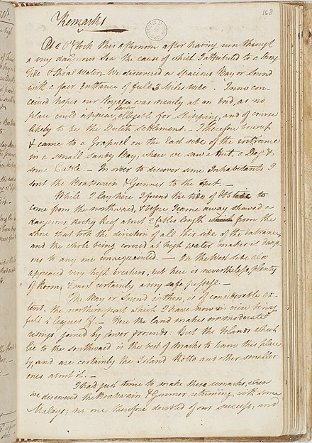 Account of arrival at Timor, 14 June 1789. Log of the Proceedings of His Majesty's Ship Bounty, 1789, bound manuscript, Safe 1 / 47 Wr Bligh Journal fl3156809 a286171.jpg