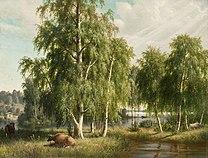 WRIGHT, Ferdinand von Summer Landscape (detail) 1877