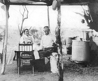 Josephine Earp - Wyatt and Josephine Earp in their ramada near their mining claim outside Vidal, California: This is the only confirmed picture of the two of them together.