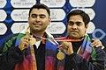 XIX Commonwealth Games-2010 Delhi Gagan Narang and Imran Hasan Khan of India won the Gold medal in (Men's) Shooting Rifle 50m pairs, during the medal presentation ceremony of the event, at Dr. Karni Singh Shooting Range.jpg