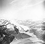 Yalik Glacier, terminus of valley glacier with dark medial moraine, August 22, 1968 (GLACIERS 6960).jpg