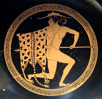 Petasos - Image: Youth leopard skin Staatliche Antikensammlungen 2639