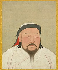 Yellowed painting of the head and shoulders of a plump middle-aged Asian man.  He is wearing a white robe and a white cap with black trim.  He has a long black moustache and a forked beard.