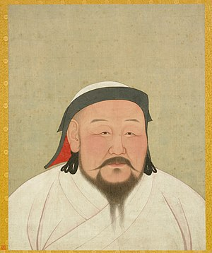 Kublai Khan - Portrait of Kublai Khan drawn shortly after his death on February 18, 1294. The painting depicts Kublai prior to the onset of obesity from heavy eating and drinking. Kublai's white robes reflect his desired symbolic role as a religious Mongol shaman. Now Located in the National Palace Museum, Taipei, Taiwan; colors and ink on silk, 59.4 by 47 cm.
