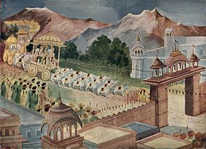 Shanti Parva - Yudhishthira arrives in Hastinapur to be crowned as king of the combined Kaurava and Pandava kingdoms.