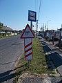 'Pápa, vasúti sorompó' bus stop and road signs, 2020 Pápa.jpg
