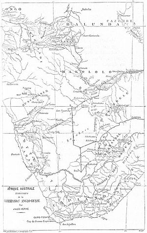 The Adventures of Three Englishmen and Three Russians in South Africa - Map of Southern Africa by Jules Férat.