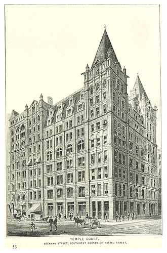 Temple Court Building and Annex - Image: (King 1893NYC) pg 839 TEMPLE COURT. BEEKMAN STREET, SOUTHWEST CORNER OF NASSAU STREET
