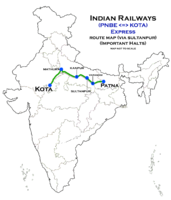 (Patna - Kota) Express (via Sultanpur) Route map.png