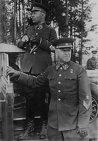 Semyon Timoshenko and Georgy Zhukov in 1940 Zhukov i Timoshenko, 1940 god.jpg
