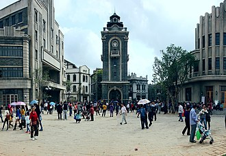 """Movie Town Haikou - The town's """"Church and Square"""" area"""