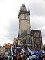 034 Cursa popular a la plaça de la Ciutat Vella, torre de l'Ajuntament.jpg