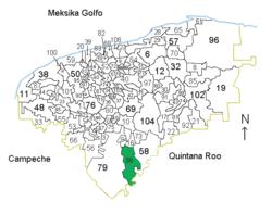 Vị trí của đô thị trong bang Yucatán