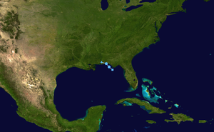 Tropical Depression Ten (2007) - Image: 10 L 2007 track