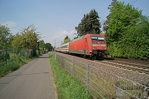 """Friesdorf (Bonn) - The German long-distance train """"Intercity"""" on the West Rhine Railway in Bonn (North Rhine-Westphalia)."""