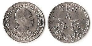 Ghanaian cedi - Image: 10 pesewas (1958)