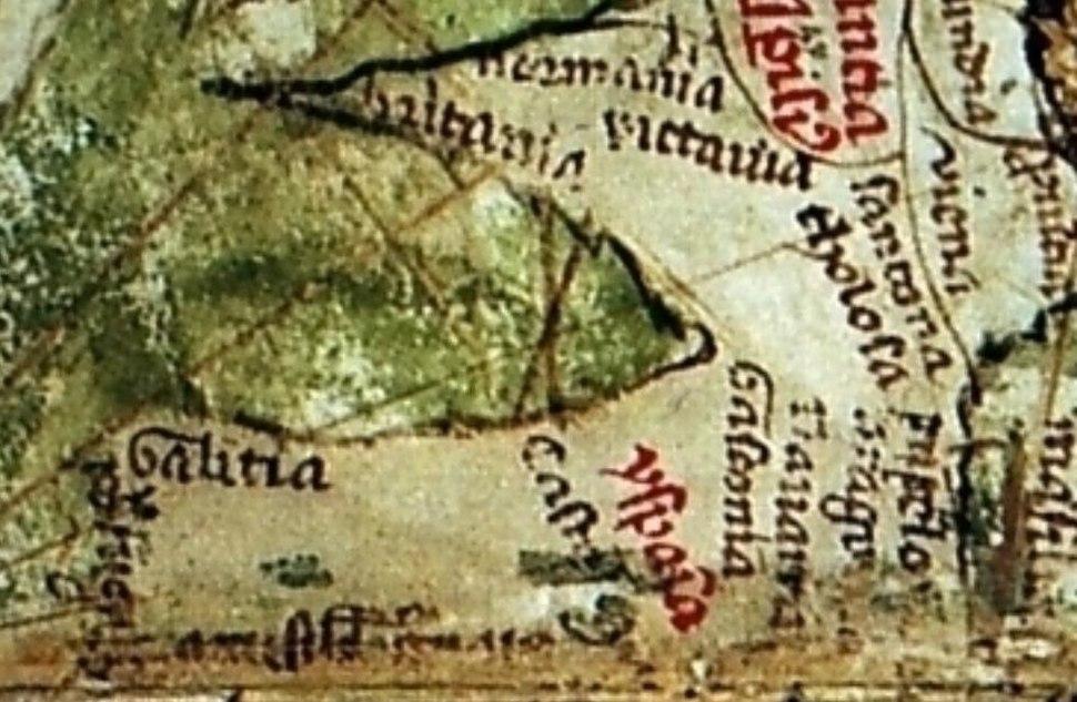 Detalle do noroeste da península ibérica do Liber Secretorum de Marino Sanuto traceado por Pietro Vesconte. Nel apreciase o nome de Galitia en todo o noroeste. Ano 1320.