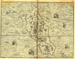 "1565 map of Sumatra with south orientation on top, showing ""Terre Laru"" on center-lower left"
