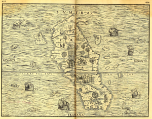 "Aru Kingdom - 1565 map of Sumatra with south orientation on top, showing ""Terre Laru"" on center-lower left"