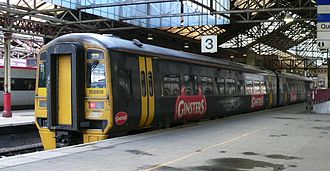 Ginsters - Ginsters liveried Class 158 Sprinter at Crewe railway station