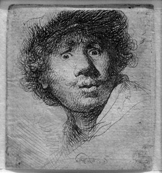 Printmaking - Rembrandt,  Self-portrait, etching, c.1630