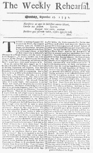 Jeremiah Gridley - Weekly Rehearsal, edited by Gridley, published in Boston, 1731